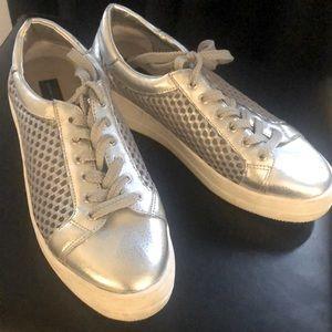 Metallic silver sneakers